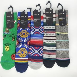 New Lot of 5 Pairs STANCE Crew Height Socks Sz Med